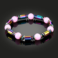 fashionable and simple Pink gemstone rainbow color bead brac...