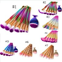 8Pcs Makeup Brush Set Mermaid Fishtail Shaped Foundation Pow...