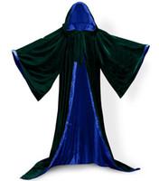 Длинные рукава бархат с капюшоном плащ плащ Cuscosplay SAFENH бархат с капюшоном косплей костюм Рождество необычные платья Hooides Кейп Почо