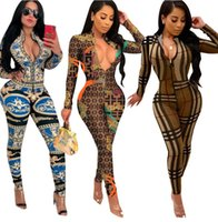 Women brand designer jumpsuit rompers long sleeve stand coll...