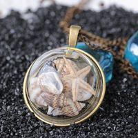 Летний пляж стиль раковина морская звезда ожерелье бронзы год сбора винограда цвет стекла крышка приморский море ювелирные изделия океана ожерелье