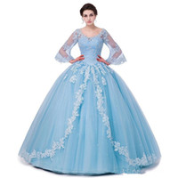 2018 Cheap Blue Quinceanera Dresses Ball Gown Sweetheart Lac...