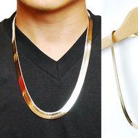 Oro cadena de la serpiente de la serpiente Boutique 1cm plana / Hueso de Dragón de cobre retro Hip Hop espiga cadena del collar del metal de las mujeres de los hombres de joyería