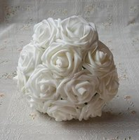 Simulation flower White Foam Roses Bridal Bouquet Artificial...