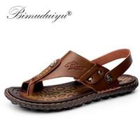 BIMUDUIYU Beach Ayakkabı Moda Erkekler Sandalet Ve Terlik İki One Günlük Ayakkabılar Deri Sandalet Açık burun Yaz Ayakkabı