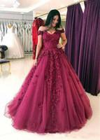 Off-плечу Arabic Длинные Пром платья Плюс Размер Burgundy Lace Цветы Блестки платья выпускного вечера бальное платье Вечерние платья