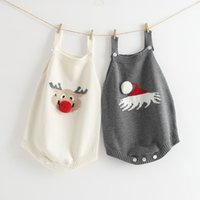 Baby girl boy clothing romper Christmas design Knitted rompe...