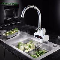 YANKSMART RU Calentador de agua instantáneo sin tanque Grifo de agua eléctrico Grifo de cocina Calentador instantáneo + LED Enchufe de la UE