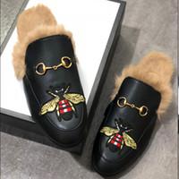 Erkekler Kürk Terlik Lüks Tasarımcı Moda Loafer'lar Nakış Princetown Katlar Flats Kaplan Arı Yılan Ayakkabı Metal Zincir Bayanlar Casual Flats W01