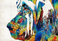 - colorful-bloodhound-dog-art-Unframed современный холст стены искусства для украшения дома и офиса, живопись, живопись животных, рамка картины
