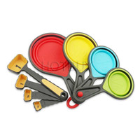 8 PCS Silicone Colorful Collapsible Measuring Cups Spoons Ki...