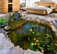 Papel pintado para paredes 3 d para vivir ro 3d tridimensional estanque río estanque piedra rocalla loto hoja dormitorio pintura del piso
