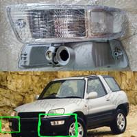 Para 1998-1999 Toyota RAV4 Car Frente Auto Adesivos Esquerda Direita nevoeiro luzes de condução Habitação Branco Amarelo tampa da lâmpada Housing