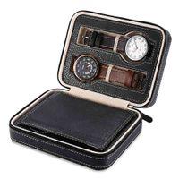 4 Rejillas Caja de Almacenamiento de Joyas Caja de Reloj de Cuero de LA PU Caja de Exhibición de Reloj caja de contenedores Organizador de Joyas de Contenedores