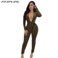 47c4272d108 JYConline Deep V-Neck Skinny Bandage Rompers Womens Jumpsuit Winter Long  Sleeve Sexy Overalls Tight Bodysuit For Women Macacao