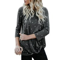 Women' s Round Neck Tops T- Shirt Polka Dot Ptint Knot Fr...