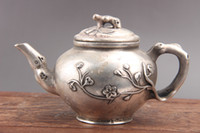 Chinese hand carved flower white Cupronickel teapot as511