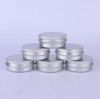 500 adet / grup 30 ml gümüş metal alüminyum kozmetik kavanoz, 30G Katı Parfüm Örnek Ambalaj Konteyner Kutular SN2098