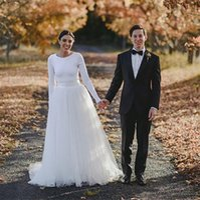 الرخيصة أثواب الزفاف خط العنق سكوب قطار الاجتياح تصميم بسيط البلد كم طويل دنة فساتين الزفاف فساتين الزفاف تول ل