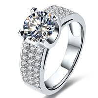여성을위한 도매 2Ct 뛰어난 교전 쥬얼리 브랜드 반지 레이디를위한 스털링 실버 반지 결혼식 SONA 합성 다이아몬드 반지