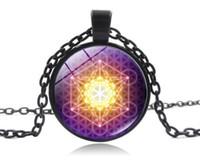 2019. Metatrons Cube Blume des Lebens Anhänger Zeit Edelstein Schmuck Geschenke für Kinder Glaskuppel Halskette (mit Kette)