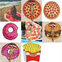 Round Polyester Beach Shower Towel Blanket Yoga Towel Pizza ...