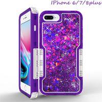 3in1 Moda Glitter Sıvı Quicksand Durumda Bling Kristal Robot Defender Kılıfları Kapak iphone X 8 7 6 S Artı Not 8 S8 S9Plus