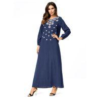 Deep Blue Plus Plus Donne ricamo Abito arabo musulmano Abito turco Dubai Marocchino Kaftan Islamic Abaya Abbigliamento musulmano Jalabiya