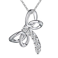 Gros mignon 925 Sterling Silver plaqué libellule zircon pendentif collier Fashion Party Bijoux Cadeaux de Noël pour les femmes Livraison gratuite