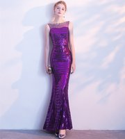 Bling Sequins Mermaid Evening Dresses Purple 2018 Beaded Pro...