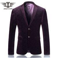 Plyesxale Men Blazer Designs 2018 Marca Slim Fit Mens Blazers de pana con estilo Hombre Blazer Casual Suit Jacket Burgundy Blue Q236