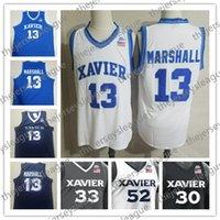 Xavier Silahşörler # 13 Naji Marshall 54 Sean O'Mara 0 Tyrique Jones Dikişli Beyaz Mavi Siyah Sıcak Satış NCAA Kolej Basketbol Formalar