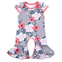 طفل الفتيات السروال القصير ملابس الاطفال القطن بوتيك كم كشكش الأزهار الرضع رومبير حللا بيجامة ملابس المنزل