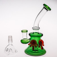 Fashion Caramel Turtle Scientific Bong in vetro Nuovo arrivo 17cm Green Glass Bong Joint 14.4 mm Bubblers Two Function Beaker Dab Rig Bong