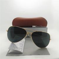 عالية الجودة زجاج عدسة أزياء الرجال النساء العلامة التجارية مصمم النظارات الشمسية uv400 58 ملليمتر 62 ملليمتر مرآة للجنسين الطيار الكلاسيكية الزئبق مرآة البني مربع الساخن