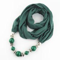 Collier écharpe de mode pendentif femmes grosses perles pendentif écharpe bijoux wrap doux bijoux Bohème cadeau
