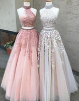 Chegada nova Dazzling High-Neck Longo de Duas Peças Applique Prom Vestido de Renda Vestido de Noite Formal Vestidos de Festa