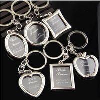 أزياء هدية عيد الميلاد مجوهرات خواتم المفاتيح مصغرة الحلي القلب سلسلة المفاتيح إطار الصورة الأقراط