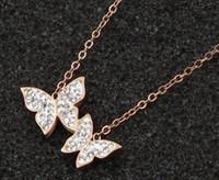 Полный новой корейской версии полный размер двойной бабочки летать кулон ожерелье девушка дикий титана стали грязи ключицы цепи