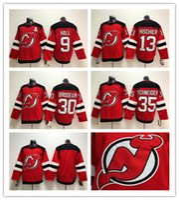 4b137ceb0 men s 2017-2018 Season New Jersey Devils Jersey 9 Taylor Hall 13 Nico  Hischier 30 Martin Brodeur 35 Cory Schneider Red Hockey Jerseys