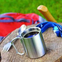 220ml Edelstahl-Cup Camping Reisen Außen Cup Doppel-Wand-Becher Karabinerhaken Griff Outdoor-Camping-Geschirr-Werkzeug