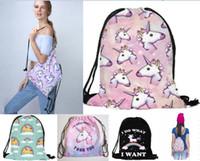 2018 yeni varış 3D Baskılı Unicorn İpli Çanta Moda Rahat Kadınlar için Okul Sırt Çantaları Seyahat çantaları 3 adet /