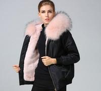 meifeng marchio di pelliccia rosa finiture rosa pelliccia di coniglio fodera giacche in nylon pelliccia di coniglio nero bombardiere giacche donne bomber volo giacche