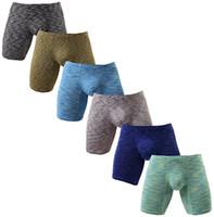 Ultra Macio Não Subir Boxer Briefs dos homens Perna Longa Underwear Low Rise Troncos Verão Moderno Novo Fit Boxer Breve KC-NewN518 S-XL