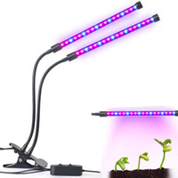 Dual Head 36LED Plant Grow Light 18W 2 Dimmable Levels Grow Lamp Bulb with Adjustable 360 Degree Gooseneck for Plants Hydroponics Greenhouse