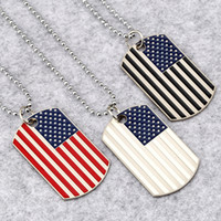 Hip Hop American National flag Pendant Necklaces Men s Square USA Military card charm Bead chain For women Rapper Fashion Jewelry