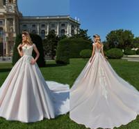 Glamorous Scoop Neck una línea de vestidos de novia apliques de encaje mangas casquillo Tulle Court Train vestidos de novia con cremallera espalda