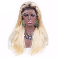 1b 613 Blonde Ombre Perruque De Cheveux Humains Brésilien Vierge Cheveux Avant de La Perruque De Dent Unprocess Remy Cheveux Deux Ton Blonde Droite Ombre Dentelle Perruque