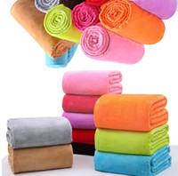 70 cm * 100 cm franela caliente mantas de lana suave mantas sólidas color colcha felpa invierno verano Manta para la cama sofá Manta I136