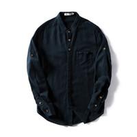 Marchio di Suehaiwe M-4XL camicia di lino solido moda uomo camicia casual mens primavera e autunno stand colletto camicie uomo top camisa